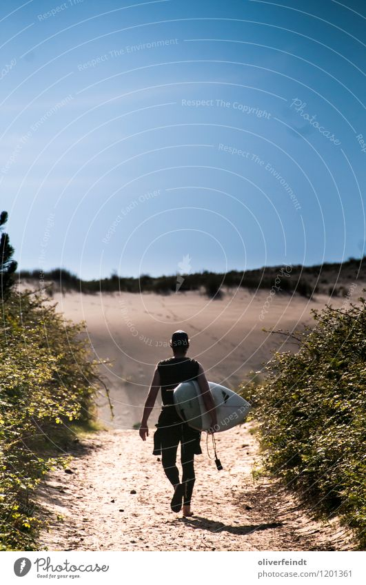 Surfen III Mensch Himmel Natur Ferien & Urlaub & Reisen Jugendliche Sommer Landschaft Junger Mann Ferne 18-30 Jahre Strand Erwachsene Umwelt Sport Freiheit
