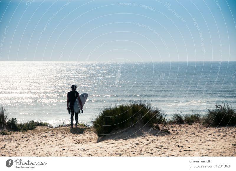 Surfen IV Mensch Kind Natur Ferien & Urlaub & Reisen Jugendliche Sommer Meer Landschaft Junger Mann Ferne Strand Küste Freiheit Sand Horizont maskulin