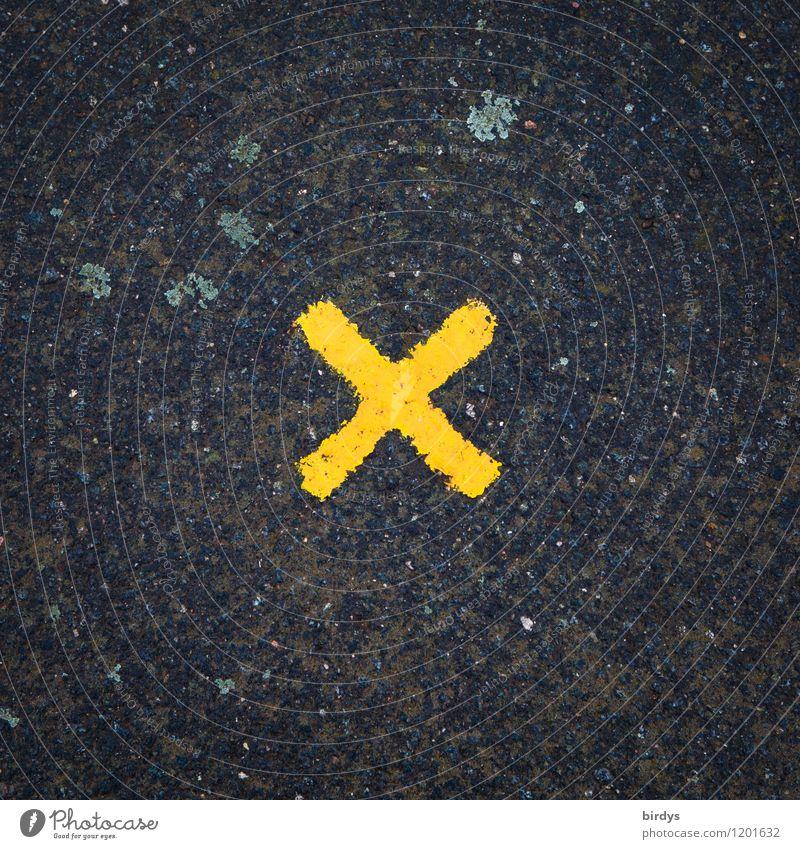 Entschlossenheit Zeichen Schriftzeichen Kreuz einfach gelb orange schwarz Interesse Hoffnung Krise Mittelpunkt planen Symmetrie Buchstaben 1 Asphalt abstrakt x