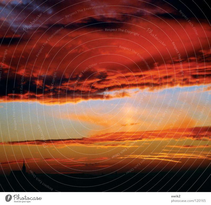 Abendlicht Himmel rot Sonne Wolken Religion & Glaube Deutschland Vergänglichkeit Kitsch Denkmal Wahrzeichen Gebet Abenddämmerung Gott Dom Textfreiraum Osten
