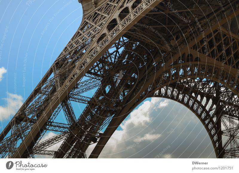 Tour Eiffel Ferien & Urlaub & Reisen Tourismus Sightseeing Städtereise Architektur Hauptstadt Turm Tour d'Eiffel Souvenir Metall Netz Netzwerk stehen gigantisch