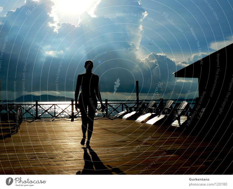 Lady Silhouette Meer Wolken Frau Bikini Holz Schiffsplanken Steg Liegestuhl Holzbrett Holzfußboden Ferien & Urlaub & Reisen Laufsteg edel Strand Küste schön