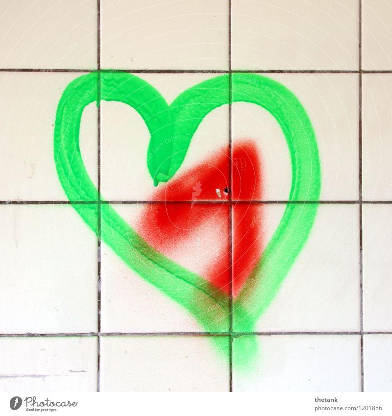 Liebe auf Seiten der Fliese Freude Dekoration & Verzierung Bad Kunst Mauer Wand Graffiti Herz Zusammensein Glück hell grün rot Gefühle Frühlingsgefühle