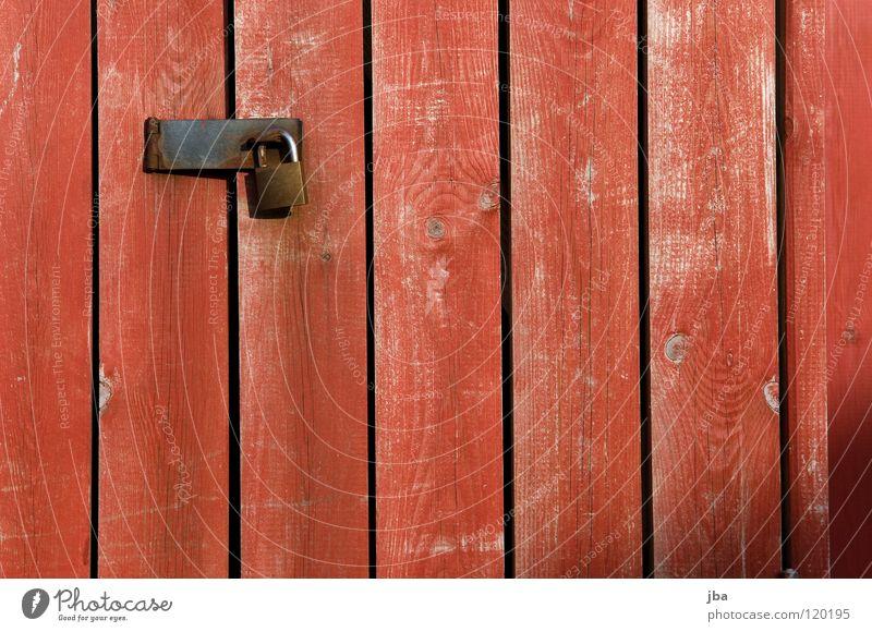 du kommst nicht vorbei rot Holz Tür geschlossen gefährlich bedrohlich geheimnisvoll Burg oder Schloss Tor Holzbrett Verbote Eisen Generator