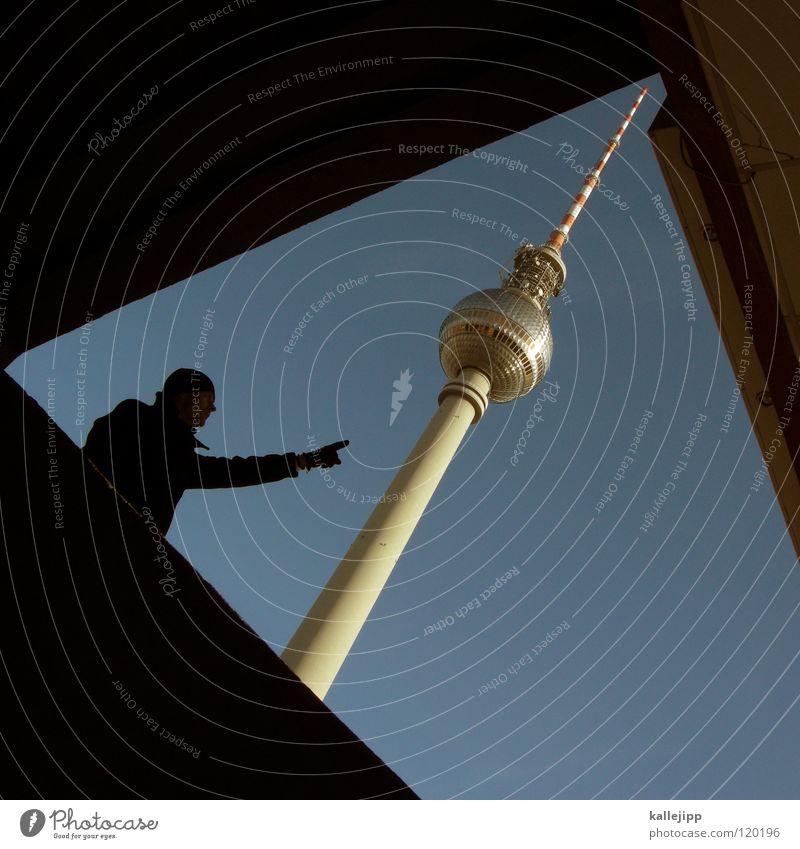 hello again Mensch Himmel Mann Hand Stadt Wolken Haus Fenster Berge u. Gebirge Gefühle Berlin Architektur grau springen See Lampe