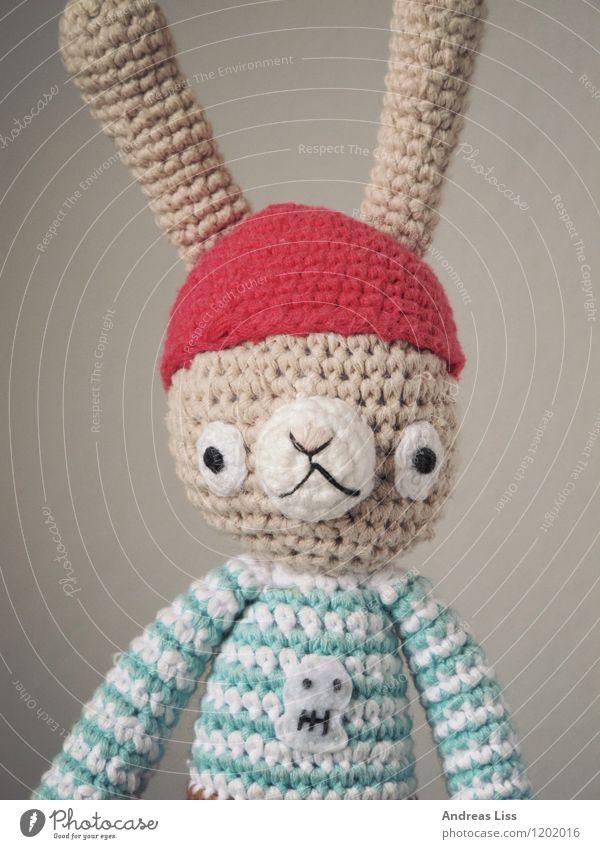 Hasenportrait Spielzeug Stofftiere Spielen niedlich Stimmung Kindheit Hase & Kaninchen Porträt Farbfoto Innenaufnahme Blick in die Kamera