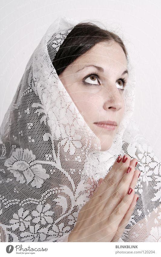 maria! Frau Hand weiß schön rot ruhig Auge Religion & Glaube Haare & Frisuren hell Erde Nase Spitze Lippen Vertrauen Glaube