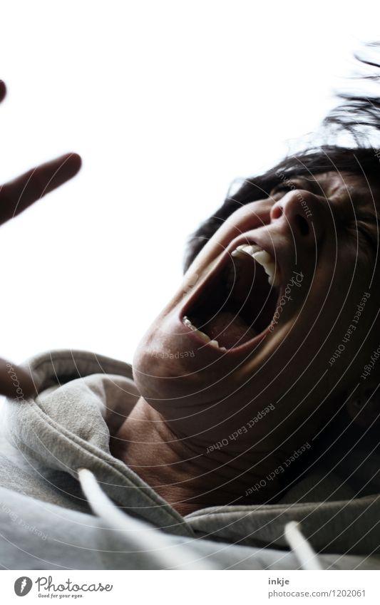 Der letzte Schrei Lifestyle Frau Erwachsene Leben Gesicht 1 Mensch schreien toben dunkel wild Wut Gefühle Stimmung Schmerz Angst Entsetzen Todesangst Rache