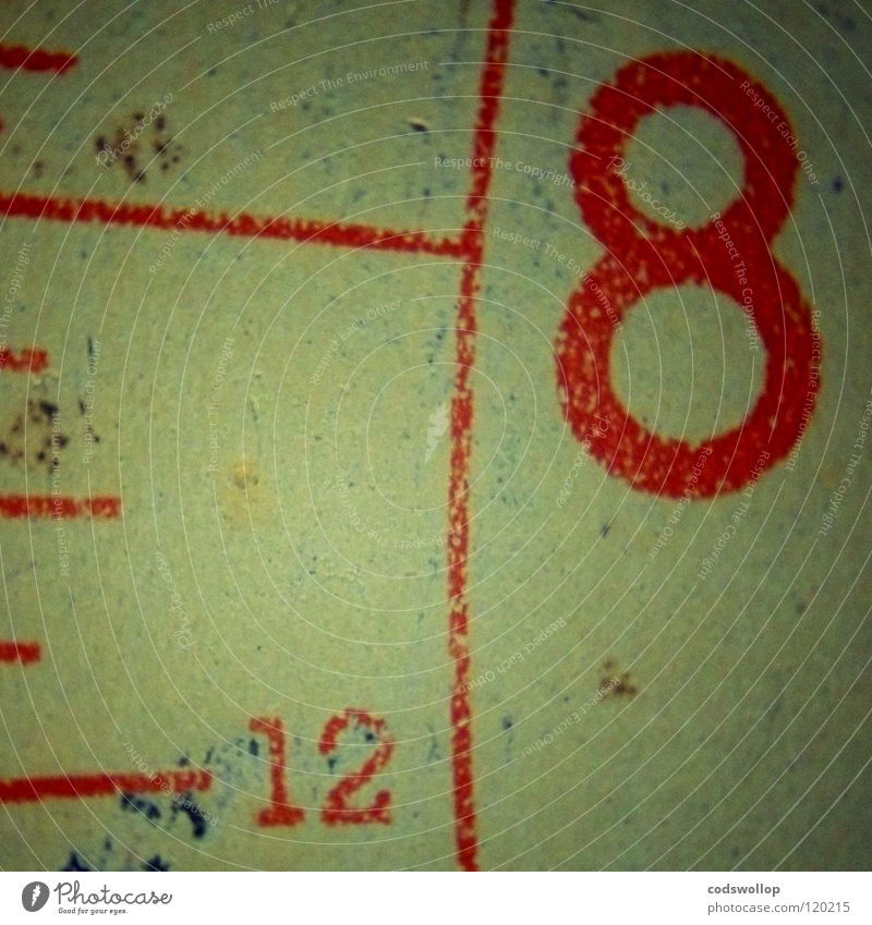 zwölf vor acht rot Zeit Uhr Ziffern & Zahlen 4 Gewicht 8 12 Bogen Mathematik 128