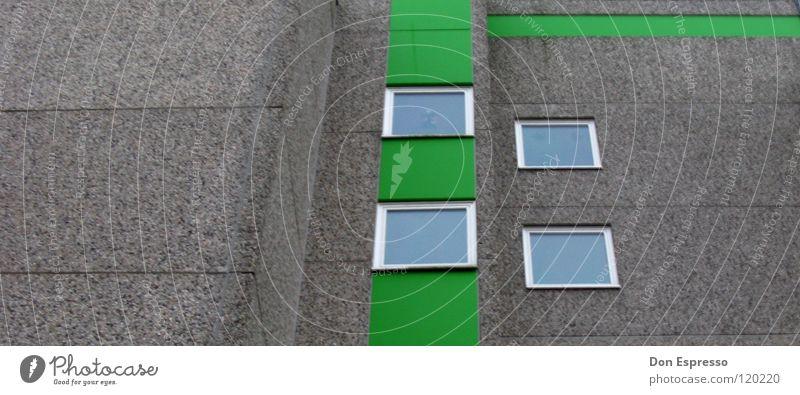 LINES grün Stadt Haus Fenster grau Stein Mauer Linie Architektur Hochhaus Fassade trist Häusliches Leben Etage Fensterscheibe
