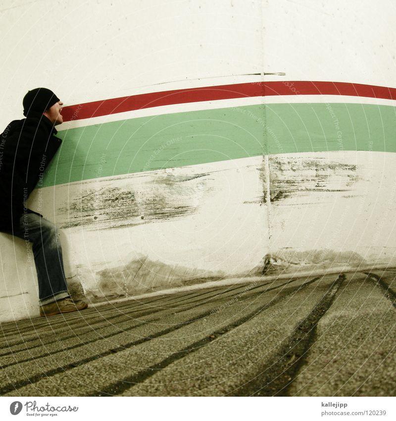 DUF (deutsch-ungarische-freundschaft) Mensch Mann blau weiß Hand rot ruhig Freude kalt Wand sprechen Graffiti Gefühle lustig Mauer Kunst