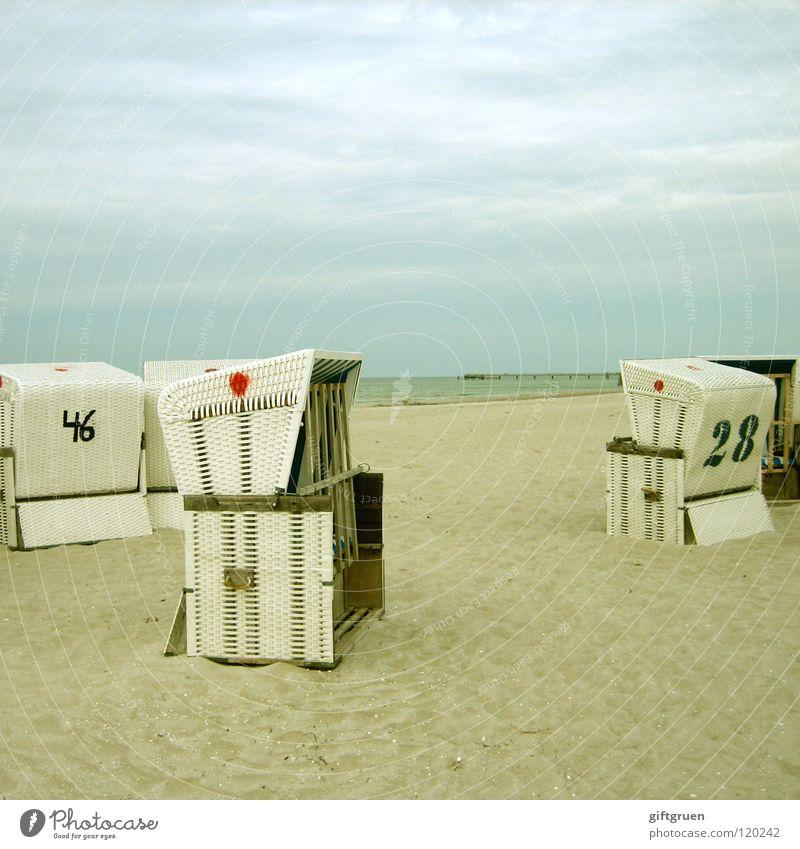 schöne aussichten Himmel Meer Strand Ferien & Urlaub & Reisen ruhig Ferne Sand Küste Aussicht Freizeit & Hobby Ostsee Strandkorb Darß Prerow
