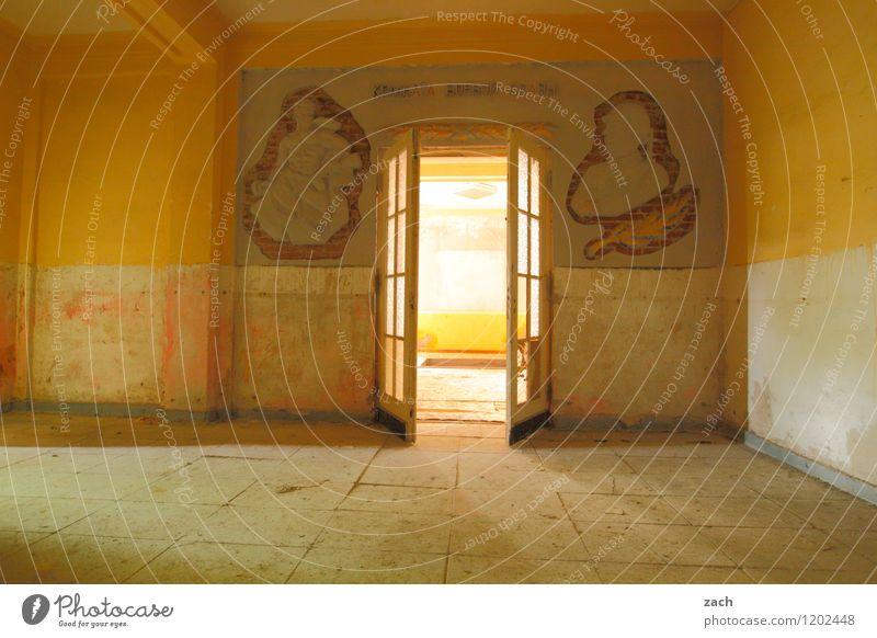 auf der anderen Seite Haus Renovieren Innenarchitektur Raum Wohnzimmer Ruine Gebäude Architektur Mauer Wand Fassade Fenster Tür Stein Zeichen Ziffern & Zahlen