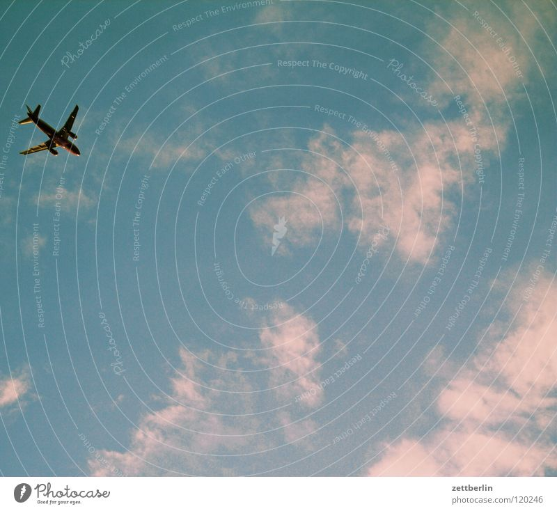 Flugzeug Billig Wolken Schwerkraft Ferien & Urlaub & Reisen Luftverkehr düse sauseschritt billigflug billigflieger Himmel last minute