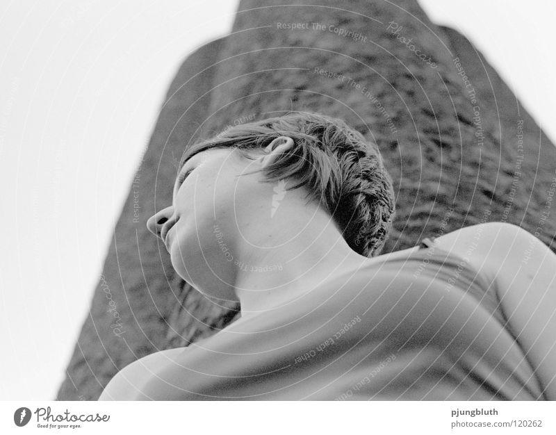 denk mal Frau Jugendliche schön Freiheit Traurigkeit Erfolg Niveau Denkmal Held Ausstellung Porträt