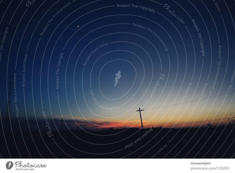 Bonaire night Himmel schwarz dunkel Landschaft Stimmung Stern Elektrizität Mond Strommast Sternenhimmel Himmelskörper & Weltall
