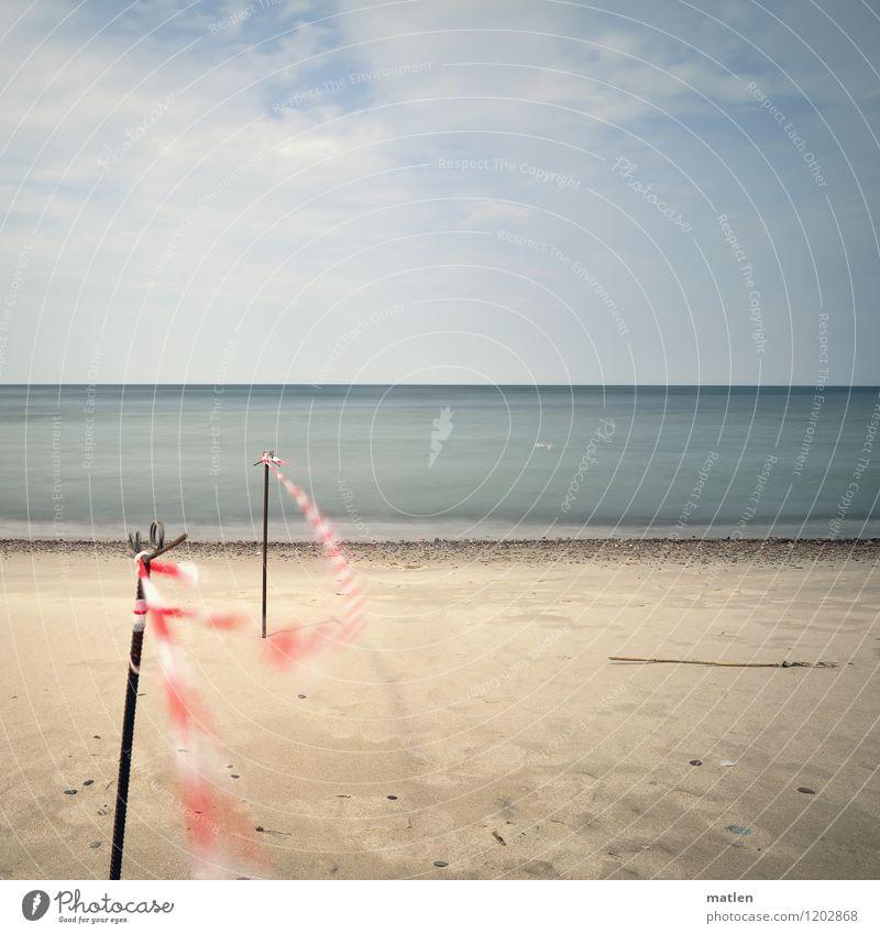 Seegrenze Natur Landschaft Sand Luft Wasser Himmel Wolken Horizont Wetter Schönes Wetter Wellen Küste Strand Ostsee Menschenleer blau braun grau grün rosa weiß