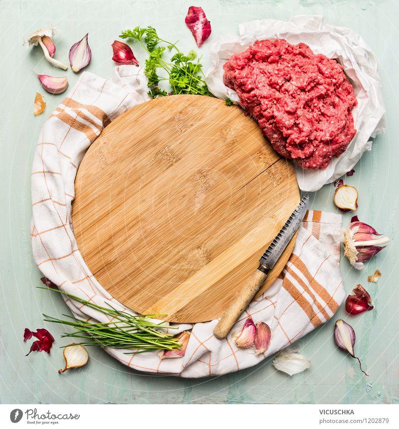 Hackfleisch mit frieschen Zutaten fürs Kochen Lebensmittel Fleisch Kräuter & Gewürze Ernährung Mittagessen Abendessen Bioprodukte Diät Messer Stil Design