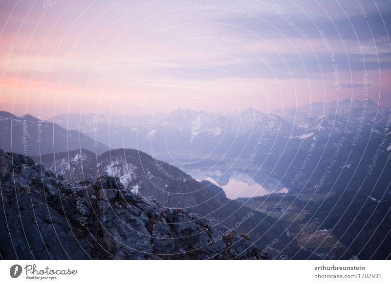 Bergpanorama am Morgen mit Seeblick Gesundheit Freizeit & Hobby Ferien & Urlaub & Reisen Tourismus Ausflug Abenteuer Sommer Berge u. Gebirge wandern Sport