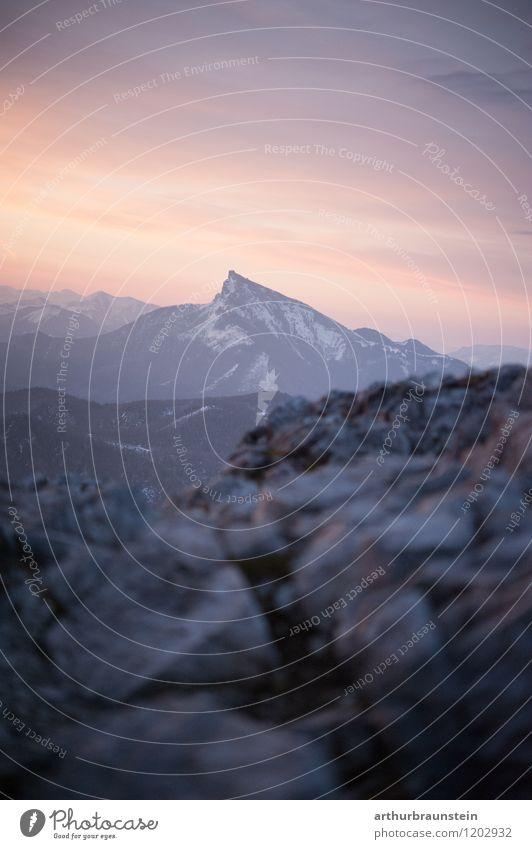 Am Berg zum Sonnenaufgang Glück Ferien & Urlaub & Reisen Tourismus Sommer Berge u. Gebirge Klettern Bergsteigen Umwelt Natur Landschaft Luft Wolken Horizont