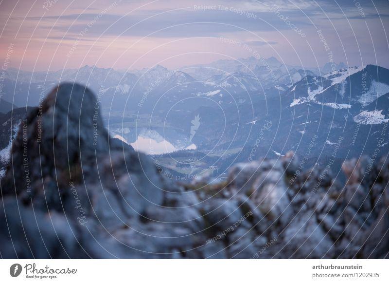 Bergpanorama Morgendämmerung Himmel Natur Ferien & Urlaub & Reisen schön Sommer Landschaft Ferne Berge u. Gebirge Umwelt Felsen Horizont Tourismus
