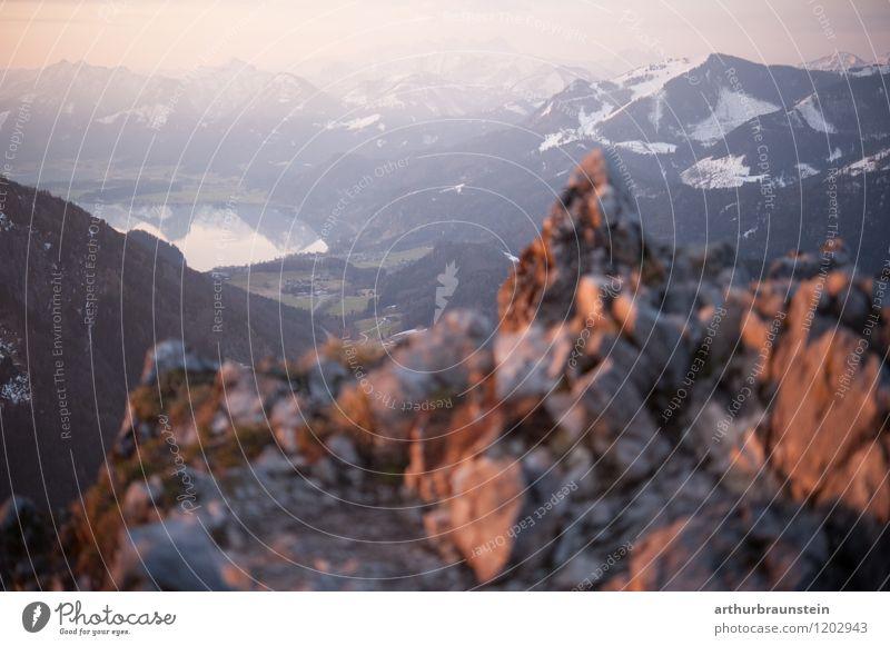 Früh am Morgen am Gipfel Himmel Natur Ferien & Urlaub & Reisen schön Sommer Landschaft ruhig Berge u. Gebirge Umwelt Frühling Schnee Sport Gesundheit Freiheit Lifestyle Felsen