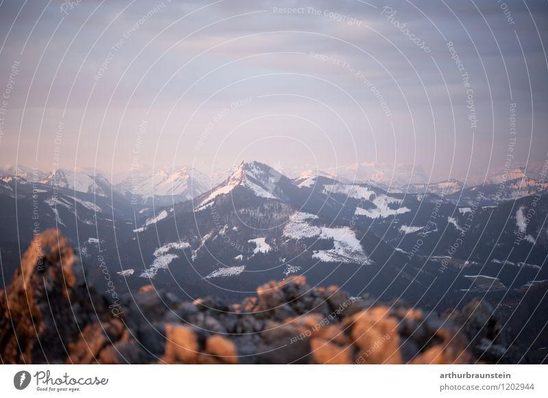Gebirge am Morgen Himmel Natur Ferien & Urlaub & Reisen Landschaft Wolken Ferne Umwelt Berge u. Gebirge Bewegung Schnee Sport Freiheit Felsen Horizont