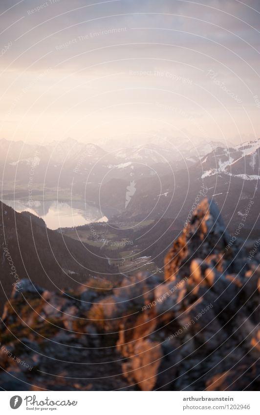 Morgens am Berg Gesundheit sportlich Fitness Freizeit & Hobby wandern Ferien & Urlaub & Reisen Tourismus Ausflug Abenteuer Freiheit Schnee Berge u. Gebirge