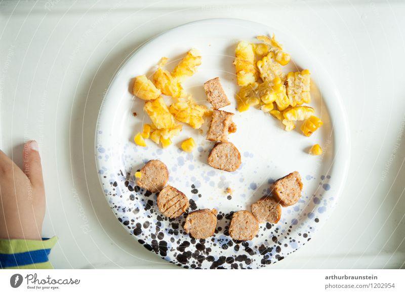 Lachender Smiley aus Mais & Wurst Lebensmittel Wurstwaren Gemüse Ernährung Essen Mittagessen Abendessen Bioprodukte Fasten Teller Reichtum Freude Gesundheit
