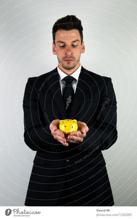 Ersparnisse Mensch Jugendliche Mann Junger Mann Erwachsene gelb Leben Business maskulin elegant Erfolg Zukunft Sicherheit Geld Geldinstitut Anzug