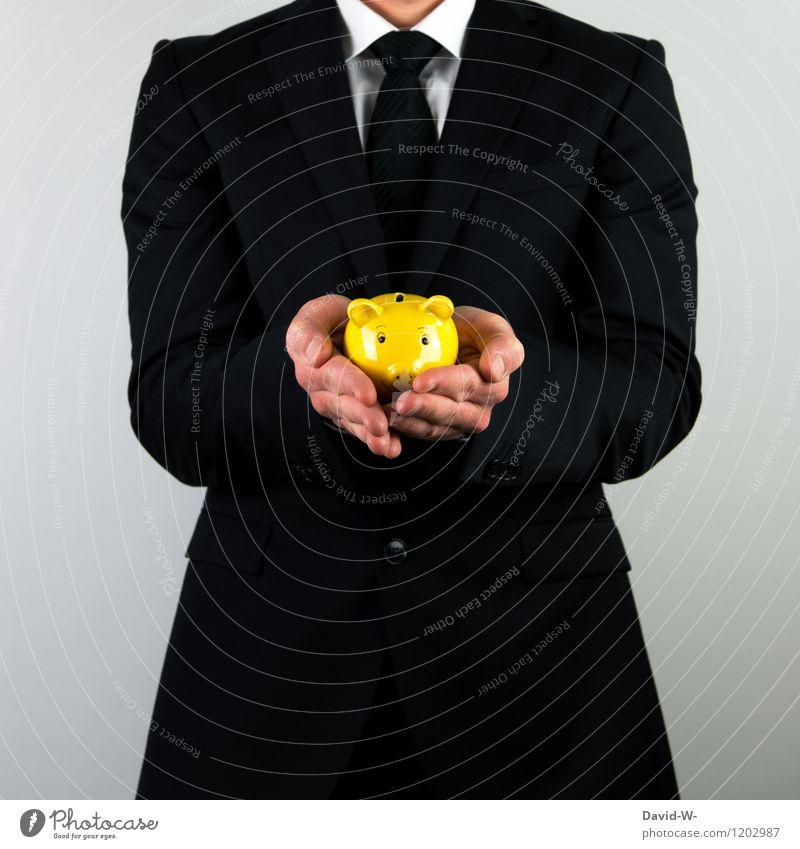 sparen Mensch Mann Erwachsene Leben Stil Energiewirtschaft Business maskulin elegant Erfolg Zukunft Geld Bildung Geldinstitut Wirtschaft Anzug