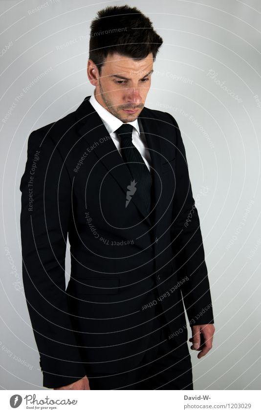 Businessmodel male Mensch Jugendliche Mann Erotik Junger Mann Erwachsene Denken Lifestyle Mode Business maskulin elegant Erfolg Coolness Trauer Model
