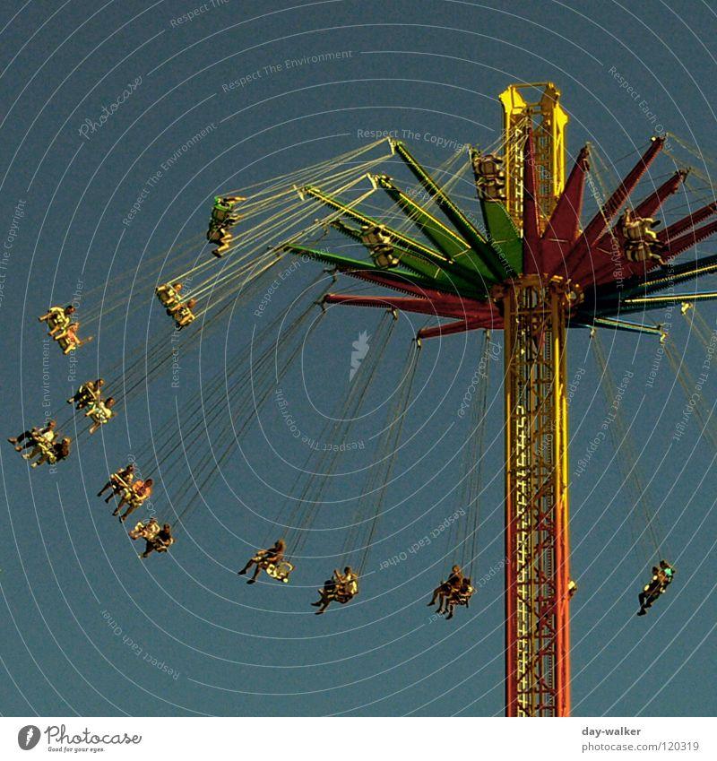 (Aus)drucksstark Freude Freizeit & Hobby Geschwindigkeit gefährlich Aktion Jahrmarkt hängen Kette Konstruktion Baugerüst Ausstellung transpirieren Nervenkitzel