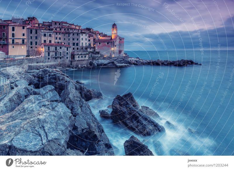 Tellaro II Himmel Ferien & Urlaub & Reisen alt blau schön Wasser Meer Wolken Haus Wand Küste Mauer grau Felsen Horizont Wellen