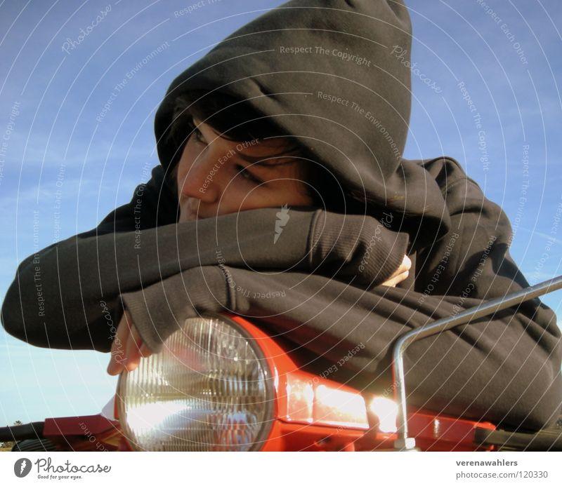 Träumereien. Jugendliche Himmel blau rot grau träumen Freizeit & Hobby Motorrad Pullover Kleinmotorrad Fahrradlenker