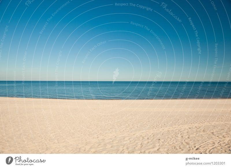 Meer Natur Landschaft Sand Luft Wasser Horizont Sommer Strand Nordsee Ostsee groß blau gelb Ferien & Urlaub & Reisen leer Freiheit ruhig Erholung