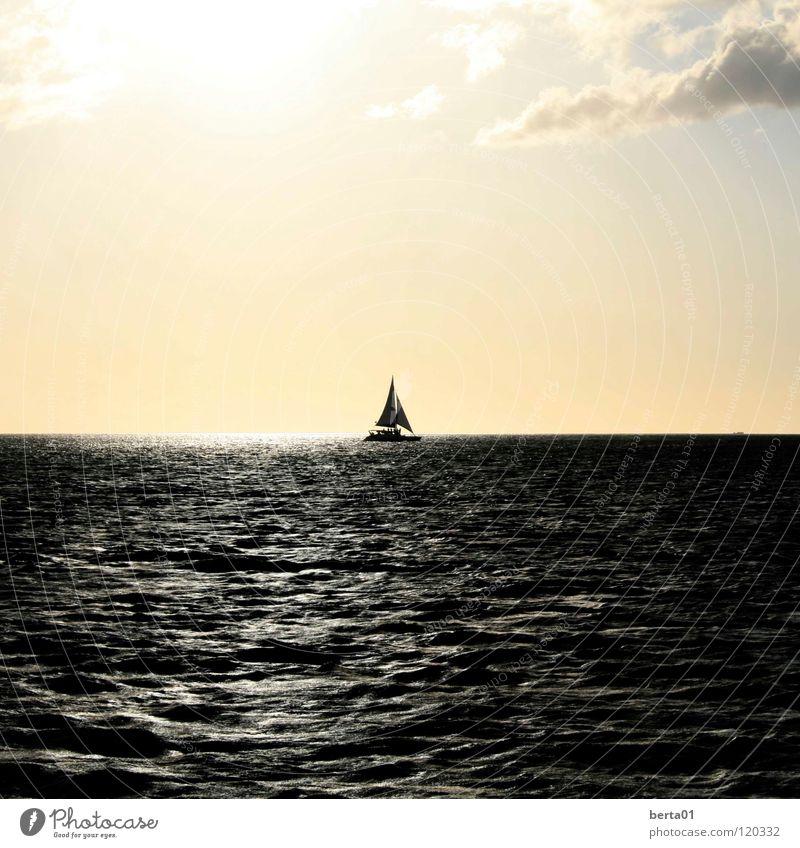 Jack Sparrow Wasser weiß Sonne Meer Ferien & Urlaub & Reisen ruhig Wolken Einsamkeit dunkel Wasserfahrzeug hell Wellen Abenteuer Romantik Angeln Segel