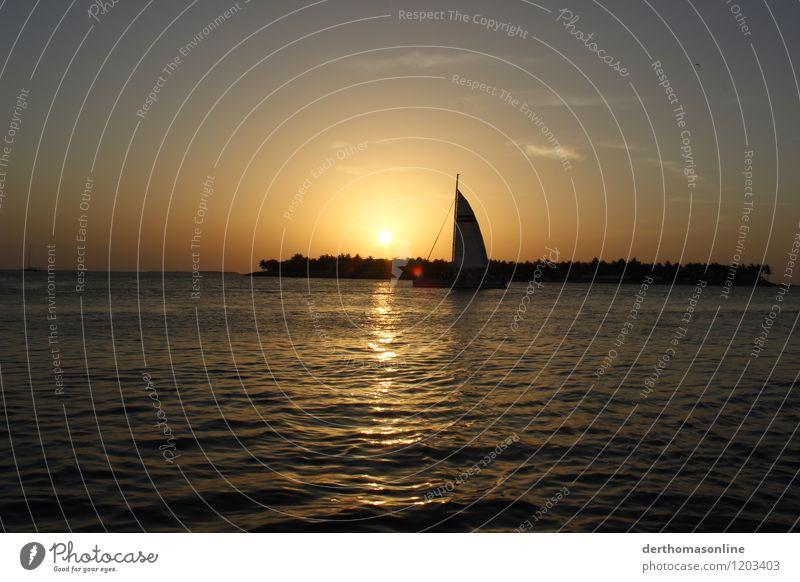 Sundowner Key West Himmel Ferien & Urlaub & Reisen Sommer Wasser Sonne Erholung Ferne Strand Wärme Freiheit Horizont Wellen Wind Insel genießen Ausflug
