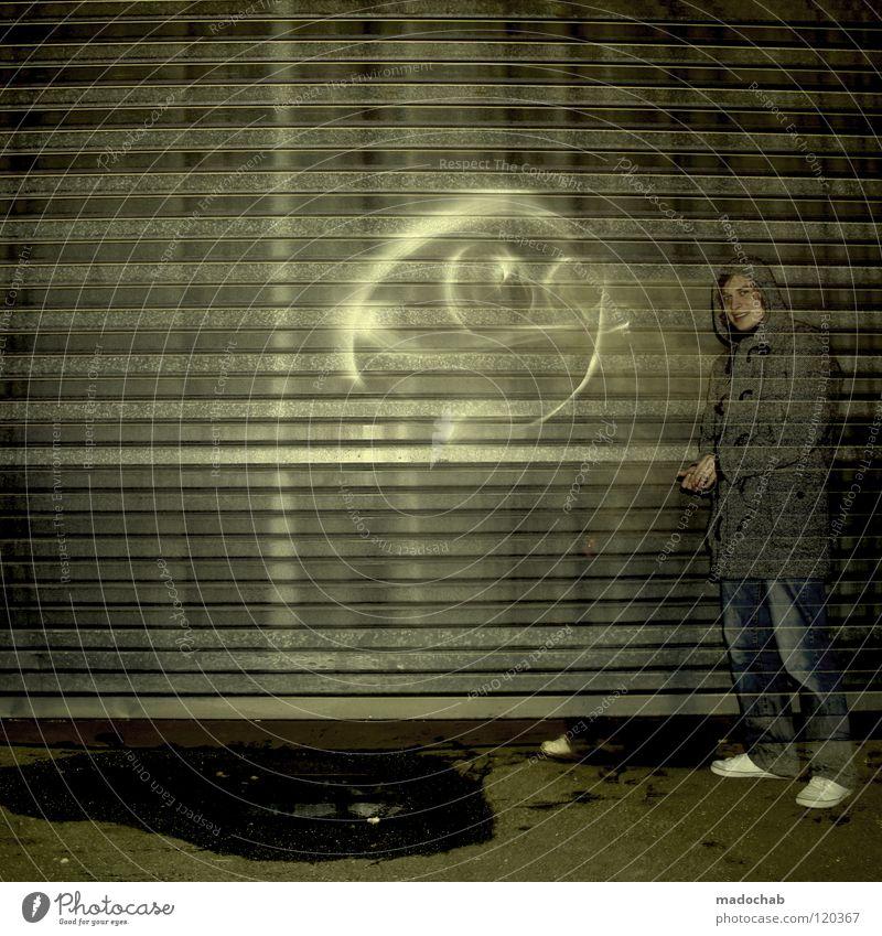 1100 - MY BEST FRIEND Mensch Mann Jugendliche Einsamkeit kalt dunkel Wand Graffiti Lampe Kunst Beleuchtung dreckig Stern Schriftzeichen leuchten stehen