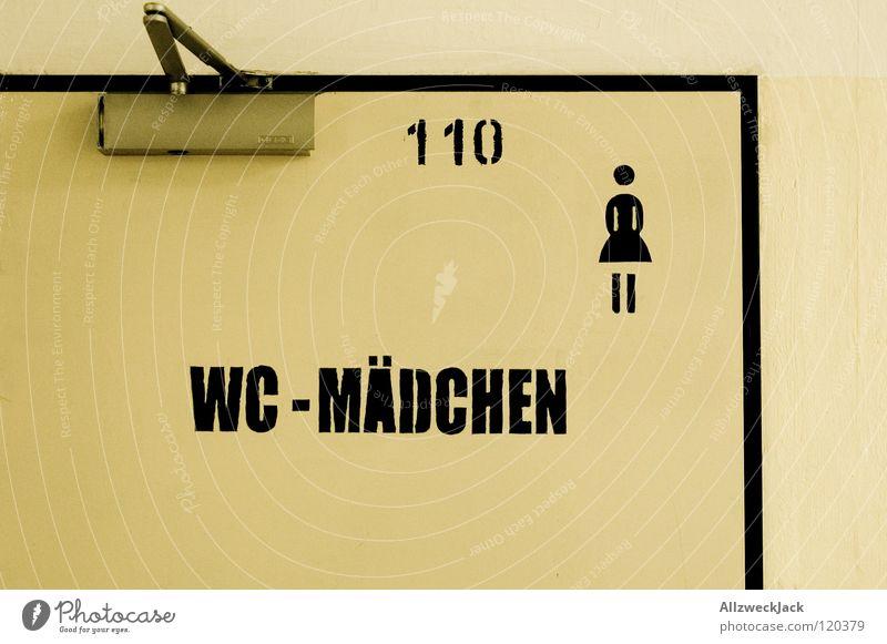 Room110 Frau Mädchen Tür Bad Schriftzeichen Buchstaben Toilette Symbole & Metaphern Piktogramm Strichmännchen Stuhlgang Damentoilette
