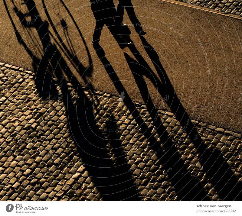 schattenwerfer Mensch ruhig Winter gelb gehen Freizeit & Hobby Fahrrad laufen Spaziergang Frieden Kopfsteinpflaster Sonntag