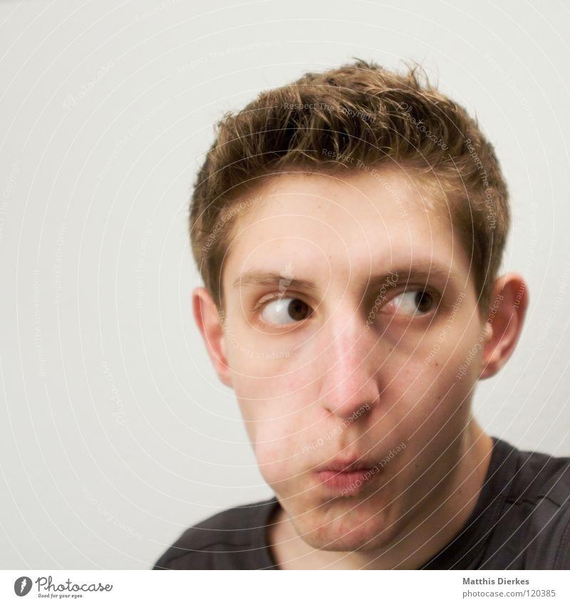 Thinking Mensch Mann Jugendliche Gefühle Denken Nase lernen planen Körperhaltung Wut Konzentration ausdruckslos Zunge Ärger untergehen ernst