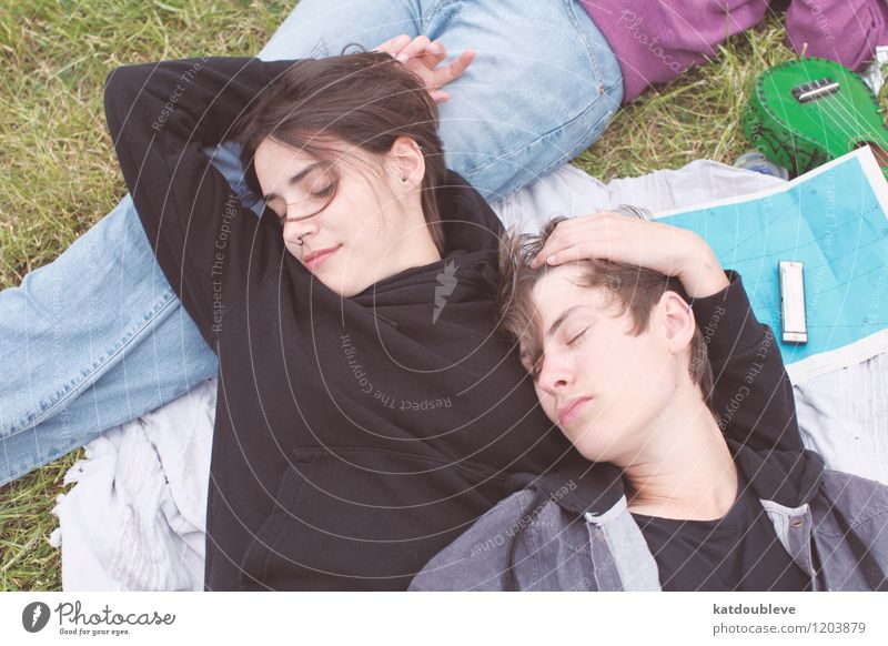 Even when my luck is down i take joy... Mensch schön Erholung Umwelt Liebe Gefühle Glück Paar Zusammensein Freundschaft liegen frei Fröhlichkeit genießen
