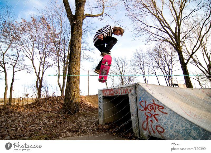 backside 180° Konzentration fahren Skateboarding Zufahrtsstraße Teer Geschwindigkeit Sport Aktion gestreift Stil Jugendliche lässig Knie Baum Basketballkorb