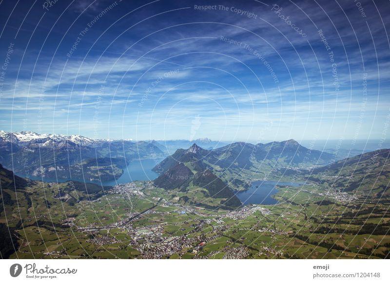 Aussicht vom Grossen Mythen Umwelt Natur Landschaft Himmel Sommer Schönes Wetter Alpen Berge u. Gebirge See natürlich blau Tourismus Wanderausflug Schweiz