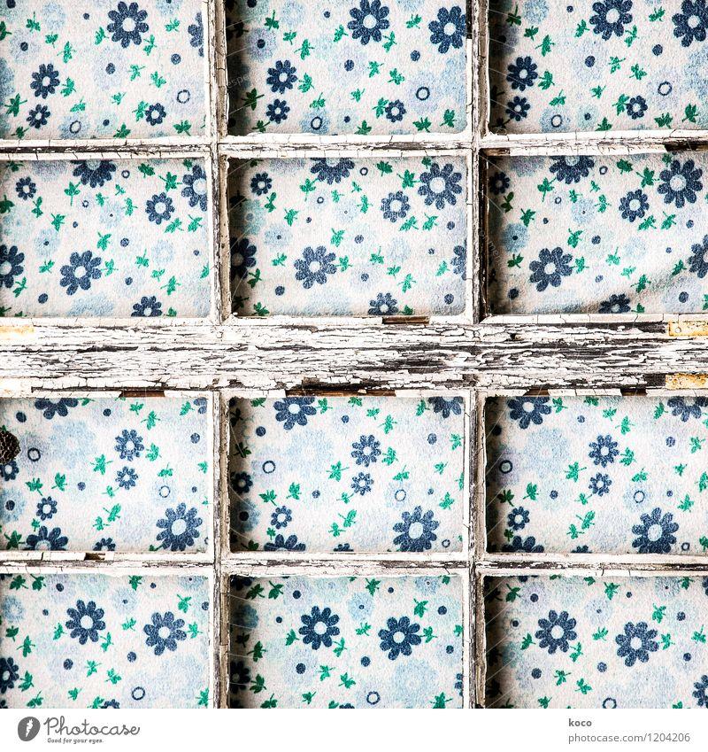 Blumengitter Blatt Blüte Fenster Dekoration & Verzierung Gardine Gitter Vorhang Stoff Stoffmuster Holz Linie verblüht alt eckig trashig trist blau braun grün