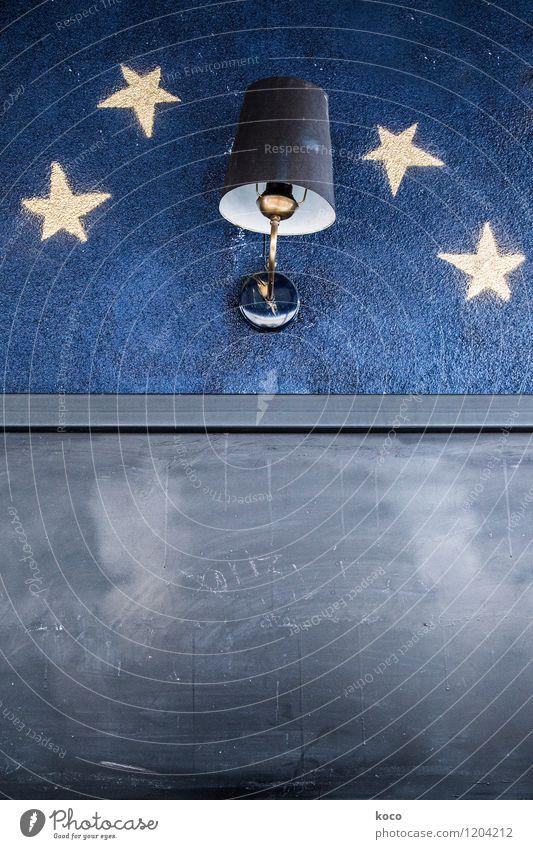 Laterne, Laterne ... Nachthimmel Stern Mauer Wand Schilder & Markierungen Lampe Licht Lampenschirm dunkel eckig einfach retro trashig trist blau gelb schwarz