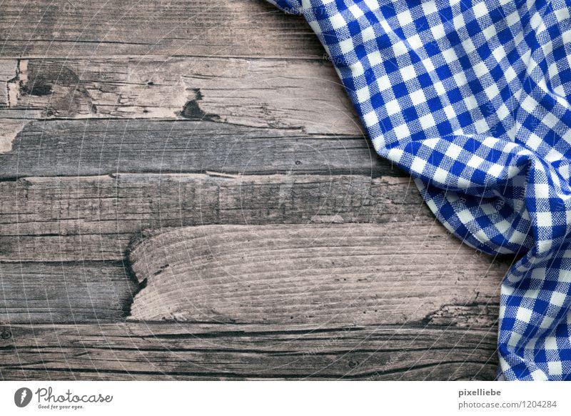 Holz Hintergrund mit Tischdecke blau weiß Essen braun Wohnung Dekoration & Verzierung Küche Gastronomie Stoff Restaurant Schreibtisch kariert Tischwäsche