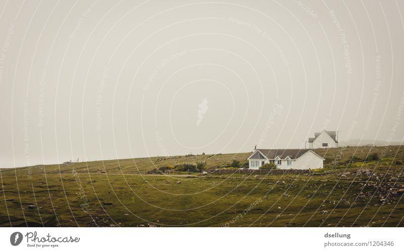 total entspannt. Natur Landschaft Himmel Wolken Klima Wetter Hügel Felsen Schottland Fischerdorf Haus alt braun grau grün Gelassenheit ruhig Zufriedenheit