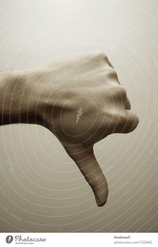 Pessimist Hand Trauer Wut Verzweiflung dumm schäbig schlecht Ärger Daumen Schwäche verlieren gestikulieren Misserfolg Verlierer negativ